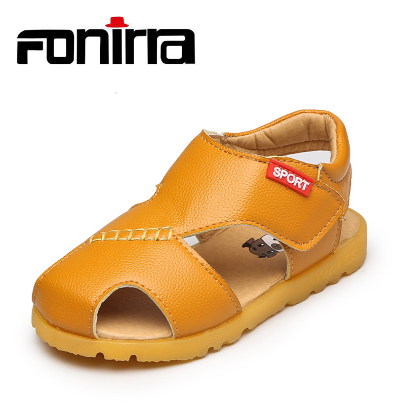 Kids Summer Beach New Leather Sandals Soft Lining Fashion Casual Sandals Comfortable Solid Flat with Shoes Fonirra 393