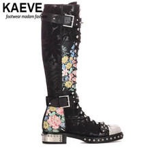 kaeve Cross Tied Motorcycle Boots For Women Rivet With Metal Decoration Buckle Print Flower Genuine Leather Knee-High Boot