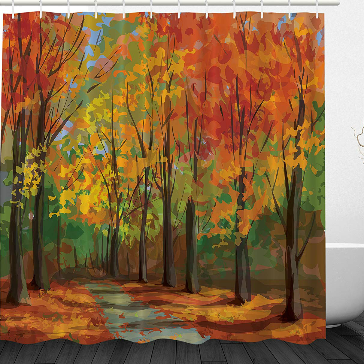 Oil Painting Style Forest Shower Curtain Set with Hooks Fall Bathroom Curtain Polyester Fabric Shower Curtain Waterproof <font><b>180*200</b></font> image
