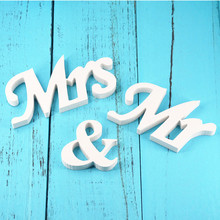 цена на 3 Pcs/Set New Wedding Decoration Marriage Decor Mr & Mrs Birthday Party Decorations White Letters Wedding Ornament Sign