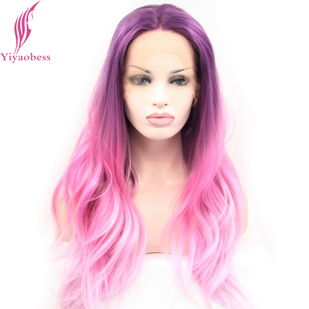 Yiyaobess Body Wave Färgglatt Spets Fram Wig Syntetisk Hår Glueless Heat Resistant Purple Pink Blue Wavy Hair Parykar För Kvinnor