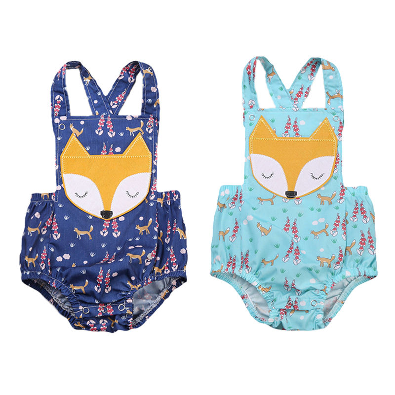 2017 Summer Cute Newborn Baby Boy Girl Cartoon Fox Romper Sleeveless Backless Jumpsuit One Pieces Outfits Sunsuit 0-24M newborn baby outfits giraffe bear cartoon short sleeve summer cotton romper cute jumpsuit baby boy clothing roupas infantil