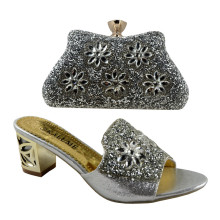 (No.1383)Silver Italian Shoes And Bag To Match For Wedding Sandals Shoes,High Quality Shoes And Bag Set!