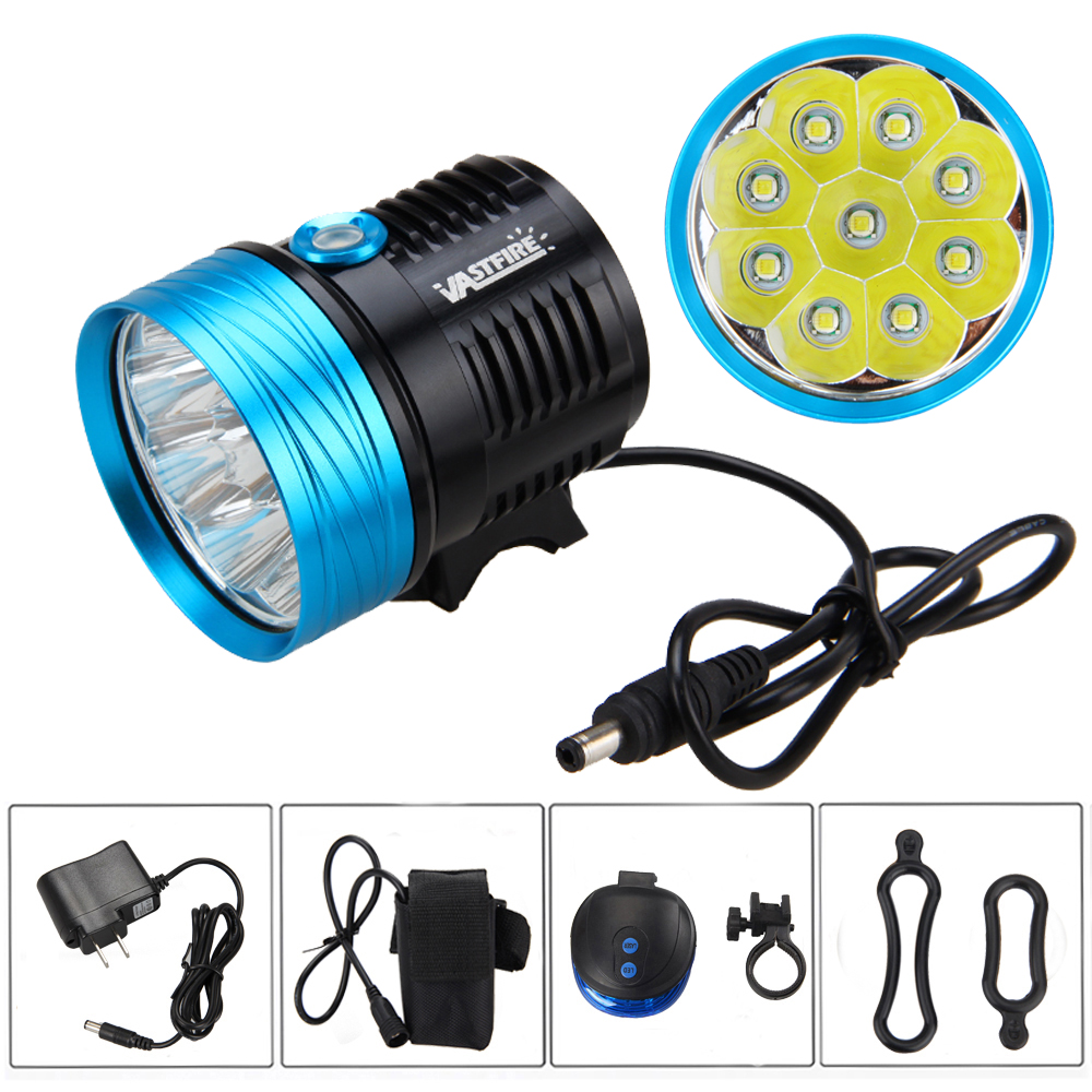 9X XM-L T6 LED 20000LM Front Bicycle Bike Lamp Headlamp +6x18650 Battery+Back Rear Light 180 16 9 fast fold front and rear projection screen back