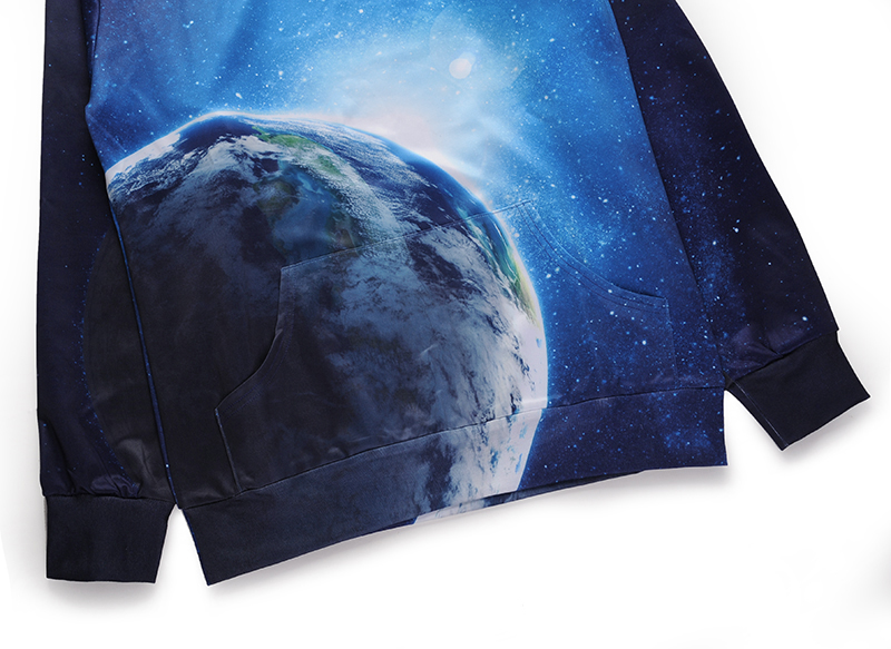 2018 New Arrival Men Hoodies 3D Sweatshirts With Hat Earth And Starry Sky Pattern Printing Polyester Spandex Lover Couple Wear