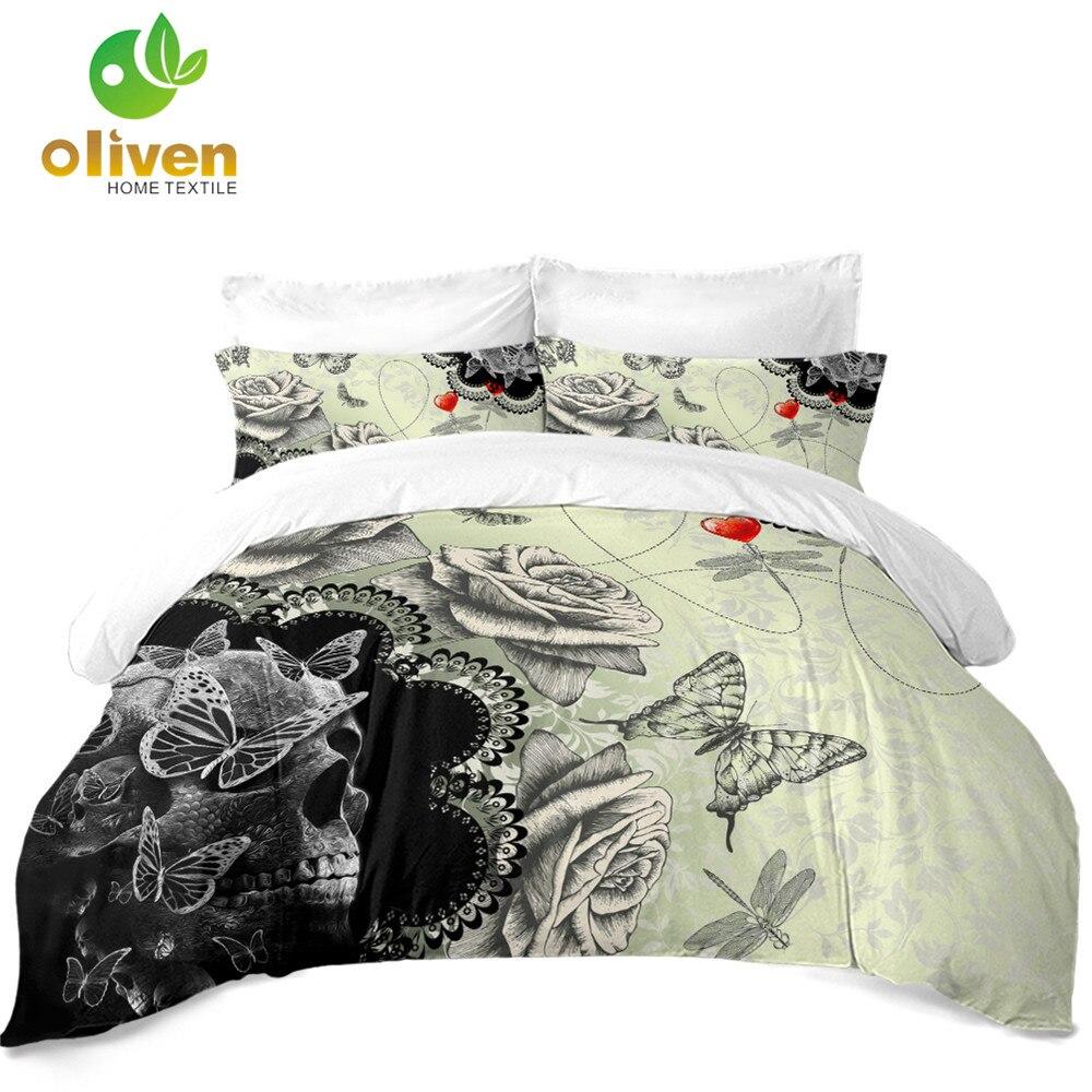 New Skull Rose Bedding Set Butterfly Print Duvet Cover Set