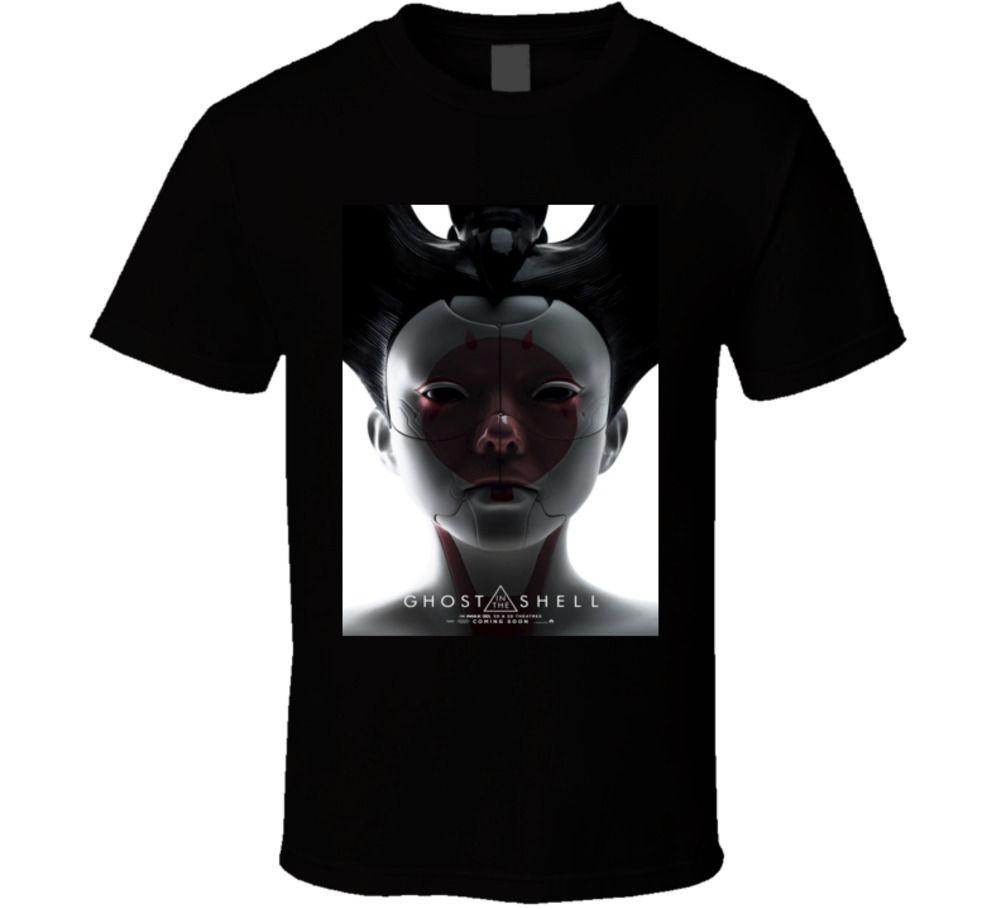 100% Cotton Print Mens Summer Ghost In The Shell Robo Geisha Sci Fi Cult Movie T Shirt Tee Shirt