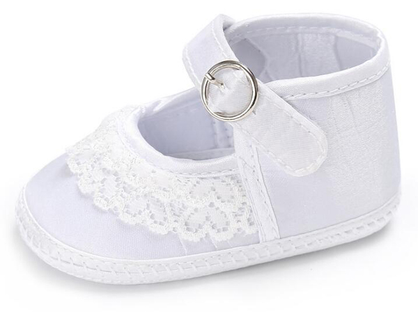 Baby Girls Shoes Newborn White Satin Lace Infant Shoes Prewalkers Little Girls Crib Shoes Nonslip Christenning Wedding High Cut