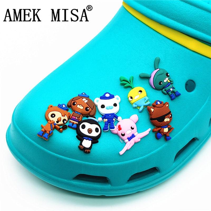 8Pcs A Set Shoe Decorations Novelty Cartoon PVC Octonauts Garden Shoes Accessories Buckles Charm Fit Bands/Croc/JIBZ 3D-XZD08