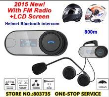 2016 ЖК-Экран Мотоциклетный Шлем Bluetooth Интерком Fm-радио Двигателя Рации Гарнитура TOM-SC