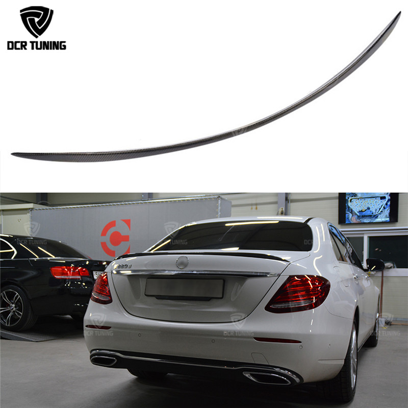 For Mercedes W213 spoiler E Class 4-Door Sedan E200 E220 E250 E300 Carbon Fiber Rear Trunk Spoiler Wings E63 Style 2016 - UP цена