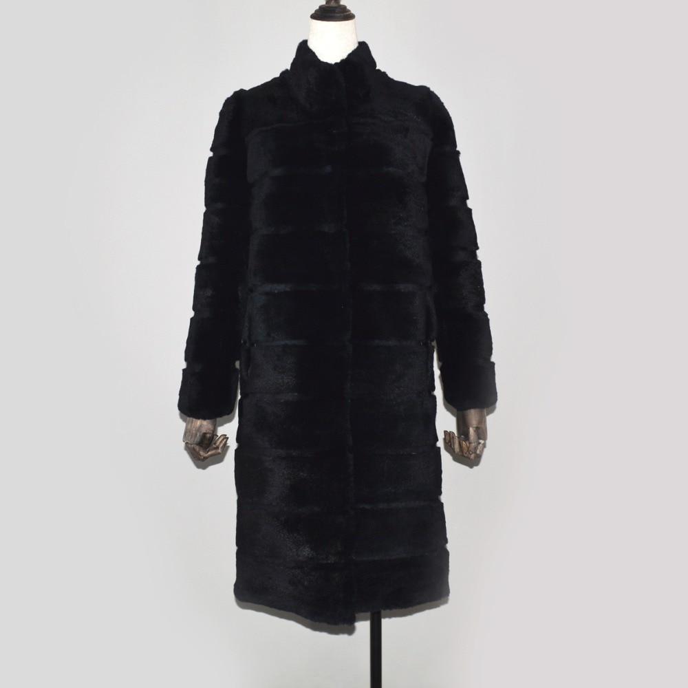 Femmes Naturel Doux Fourrure Pardessus Automne Veste Réel De Manteau Style Hiver 100Véritable Chaud Long Black Lapin BdrxeoWC