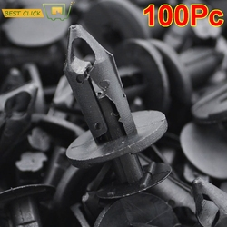100PCS Black Plastic Retainer Rivet Car Fender Bumper Push Pin Clips Fasteners 8mm Hole For Honda Audi Buick Chrysler