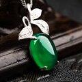 Morning glory flor mujer caliente hermoso collar de jade verde colgante de hojas naturales incrustaciones de plata calcedonia joyería fashion girl