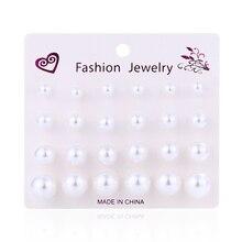цена на WNGMNGL Femme Simple Drop White Simulated Pearl Stud Earrings For Women Elegant Delicate Pendiente 12 Pair Girls Fashion Jewelry