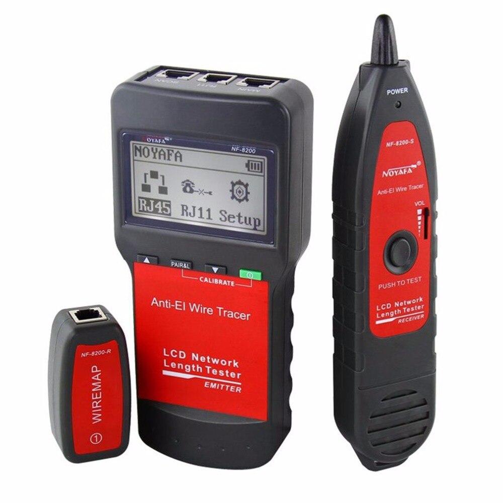 Noyafa LAN RJ45 провода кабельный тестер сети Ethernet провода Tracker кабеля Длина тестер с Подсветка ЖК-дисплей Дисплей