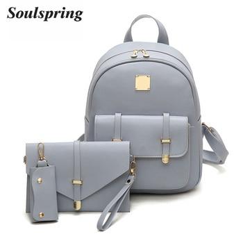 Fashion Composite Bag Pu Leather Backpack Women Cute 3 Sets Bag School Backpacks For Teenage Girls Black Bags Letter Sac A Dos