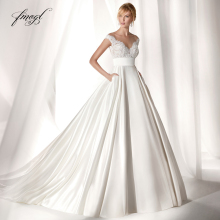 Fmogl Wedding Dress 2019 Cap Sleeve Court Train