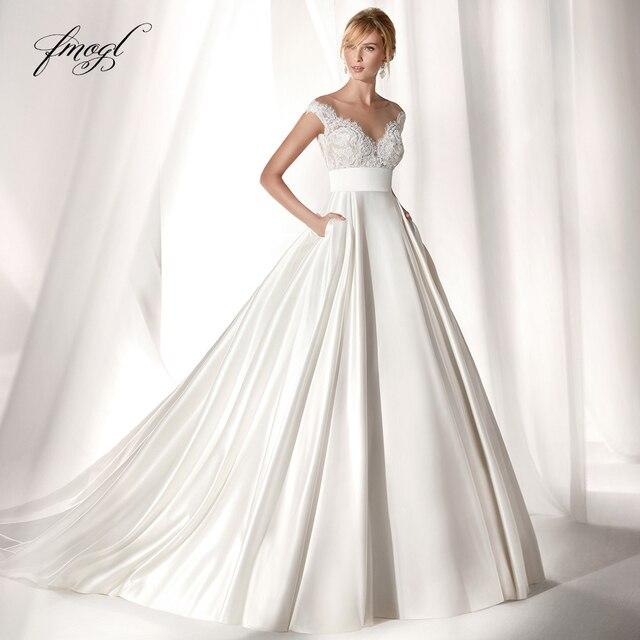 Fmogl Vestido De Noiva Appliques Beaded Wedding Dress 2019 Sexy Illusion Cap Sleeve Court Train Satin A Line Bride Gown