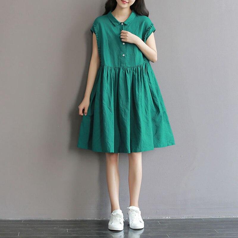 Summer Dress Green Color A Line Women Dress Loose Waist Sleevelesss Turn Down Collar Cotton Linen Dress Size M-2XL