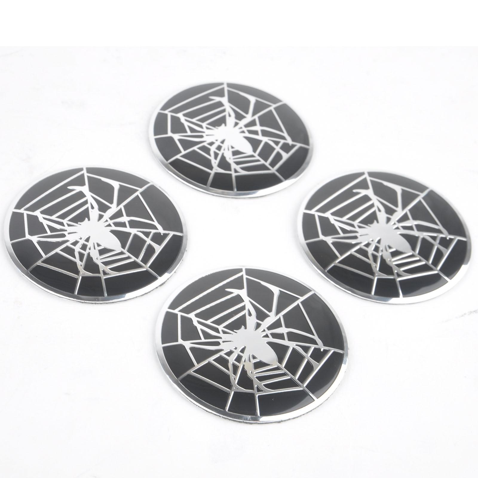 ᗑ4 piezas coche araña patrón Logo emblema Auto rueda Centro Hub Cap ...