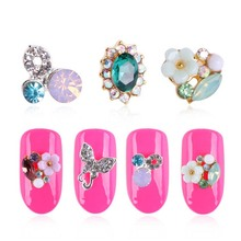 New 3PCS 3Dpearl flowers,butterflies,bows gem rhinestone design,Nail Uv Gel and mobile phones DIY jewelry accessories,nail tools