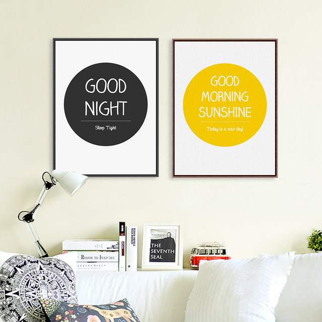Good Night Posters And Prints Wall Art Yellow Black Canvas Painting Pictures For Baby Room
