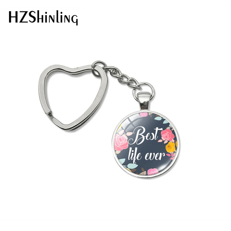 2019 New Fashion Best Life Ever Keyring Heart Kechains Hand Craft Jewelry Car Bag Hold Keyring Accessory Gift For Friends