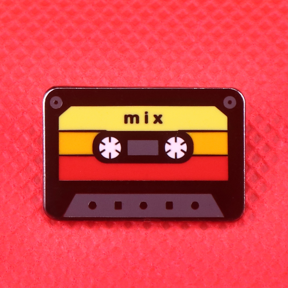 Mix tape enamel pin 80s retro music badge cassette tape