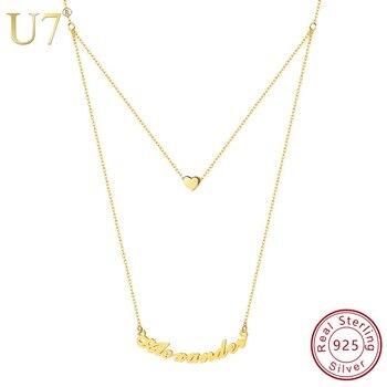 86566ac4b232 U7 de Plata de Ley 925 joyería personalizada doble capa cadena colgante de  corazón de nombre personalizado collares para mujeres regalo de SC165