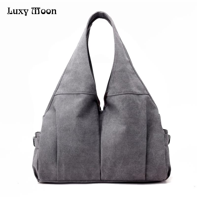 Luxy Moon Women Handbag Casual Large Canvas Tote Bag Famous Brand Fashion Handbags Mom Bags Washable Bolsas Feminina Grey ZD673 aosbos fashion portable insulated canvas lunch bag thermal food picnic lunch bags for women kids men cooler lunch box bag tote