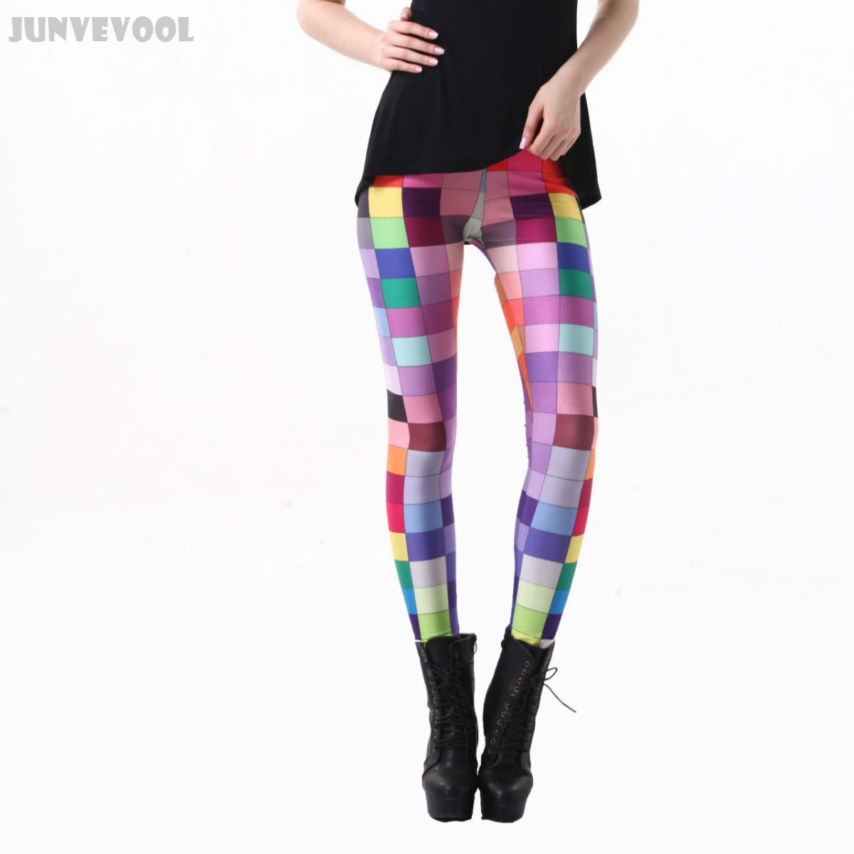 511590925634d Detail Feedback Questions about Lycra Spandex Leggings Slim Nice Pants  Women Rainbow Color Lattice Printed Grid Skinny Trousers Stretchy Pencil  Slim Slacks ...