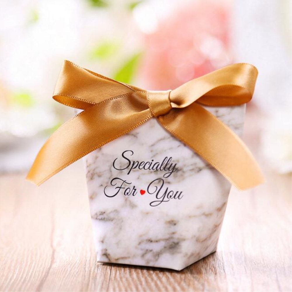 10pcs Marble Paper Candy Gift Boxes Bags Satin Ribbons Baby Shower Favors Kids Birthday Party Wedding Decor Sweet Love Supplies