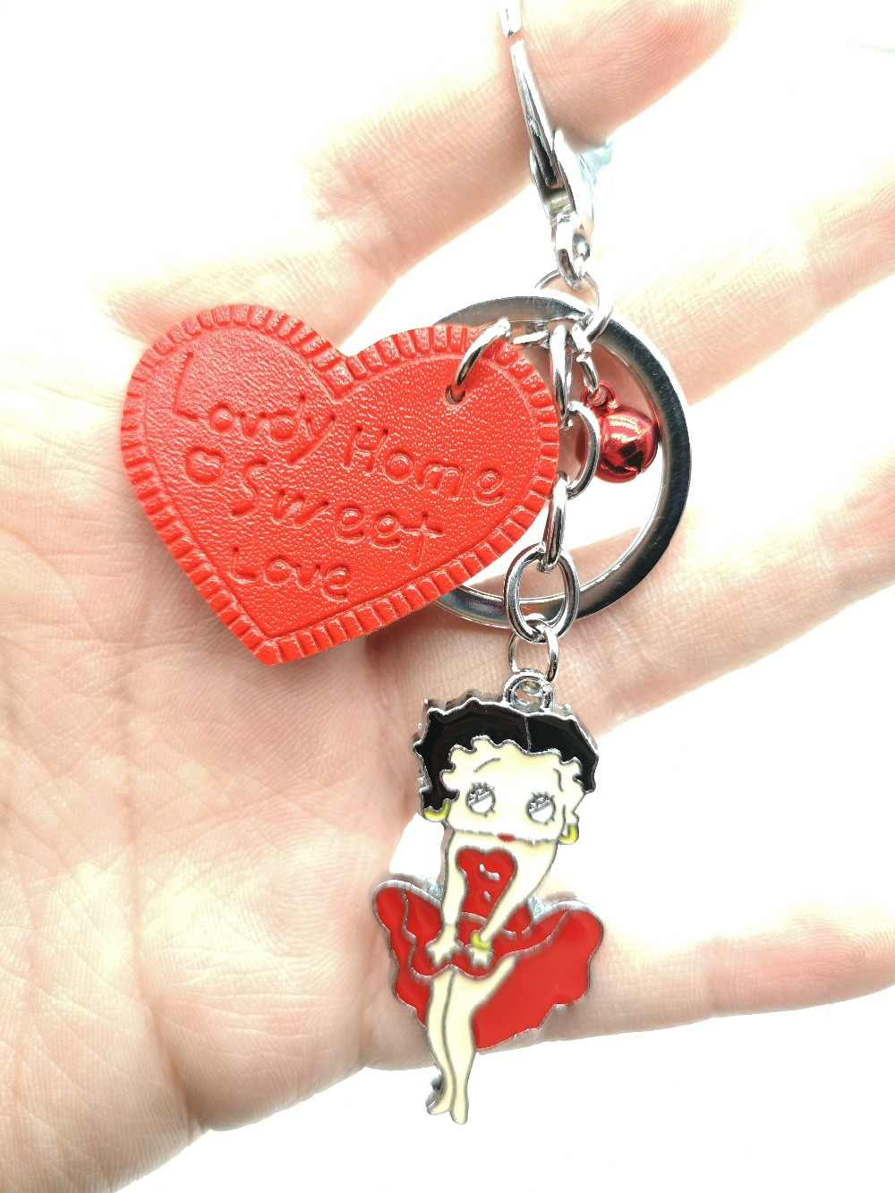 Free shipping New 1pcs cartoon red love heart Jingle bells betty boop Charms Pendants Key Chain Keychains party toy kids gifts