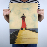 Lighthouse World Famous Oil Painting Kraft Paper Paint Vintage Wall Sticker Poster Living Room Bar Cafe