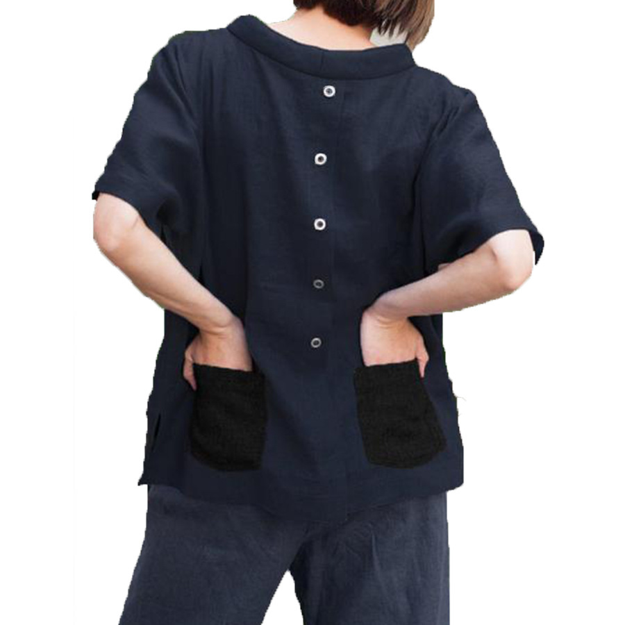 Coton lin décontracté casual d'été Blouses hauts solide lâche haut pour femme demi manches O cou femme tunique chemises de grande taille XXL XXXL