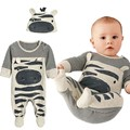 2017 New Autumn baby boy clothes set baby boy zebra gray long-sleeved jumpsuit Newborn Rompers+Hat baby clothing set