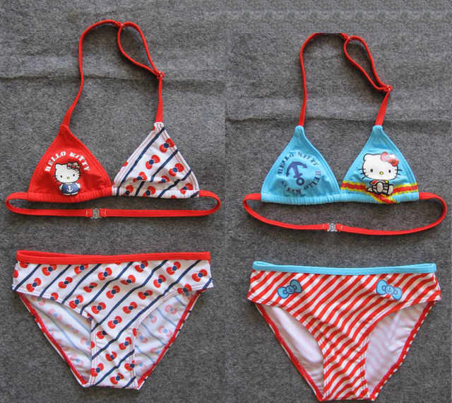 2013 new style free shipping 2pcs/set  Hello Kitty baby girls swimsuits girl's bikini swimwear new design chlidren swimsuits