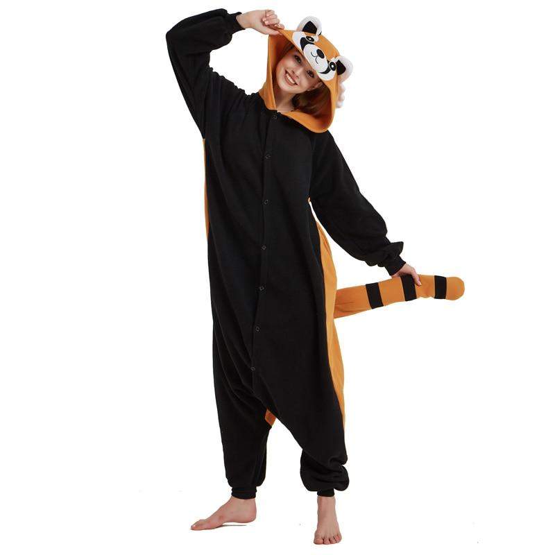 Women Onesie Raccoon Pajama Funny Cute Animal Party Suit Unisex Adult Winter Brown Black Jumpsuit Warm Sleep Wear Couple Pyjamas (6)