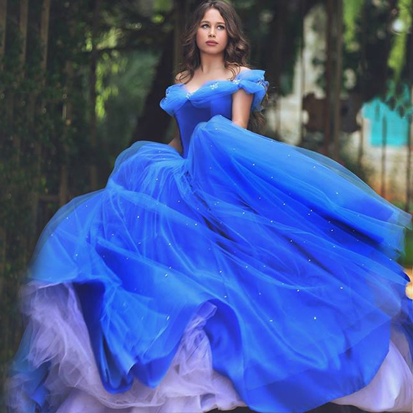 Romantic 2017 royal blue wedding dresses ball gowns for Wedding dresses with royal blue