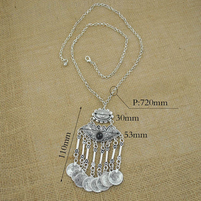 H:HYDE 2017 Fashion Gypsy Bohemian Boho Jewelry Silver color Tassels Long Carving Coins Necklace For Women Fine Jewelry
