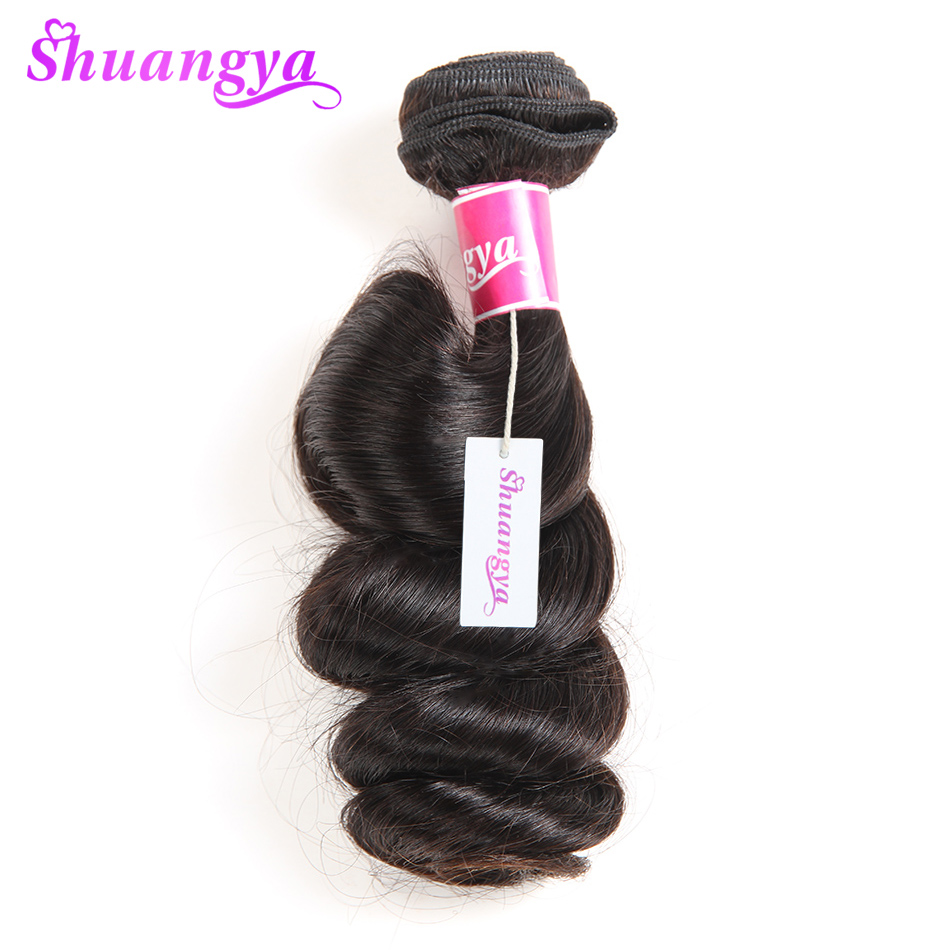 """shuangya hair malaysian loose wave 1 bundle non-remy hair 10""""-28"""" can be dyed and bleached natural black color human hair weave"""