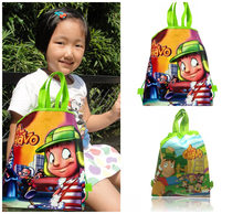 30pcs EL Chavo Trolley Cartoon Kid School Backpack Non Woven Fabrics Drawstring Shopping Bag 34*27CM Gift Bag Xmas Party Supply(China)