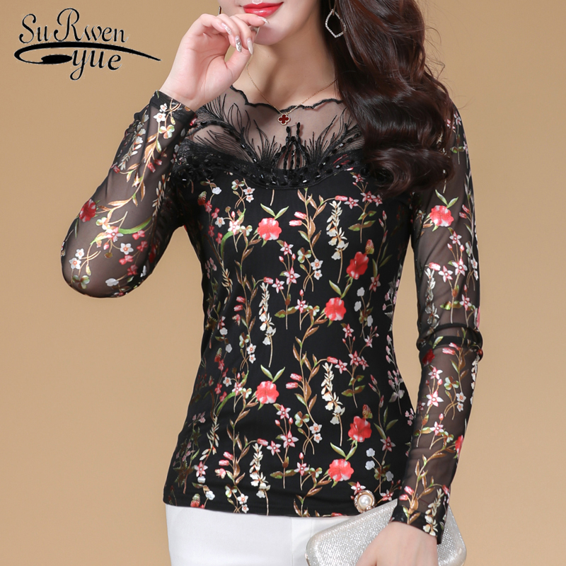 2018 plus size women blous fashion lace womens tops and blouses printed floral ladies clothes women