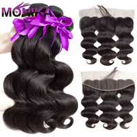 Human Hair Bundles With Frontal Body Wave Brazilian Hair With Frontal Ear To Ear Lace Frontal Closure with Bundles Non Remy