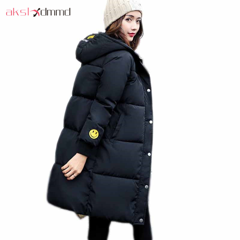 AKSLXDMMD Parkas Winter Jacket Women 2017 New Embroidery Smile Thick Padded Hooded Mid-long Coat Female Abrigos Mujers LH1035 akslxdmmd parkas mujer 2017 new winter women jacket fur collar hooded printed fashion thick padded long coat female lh1077
