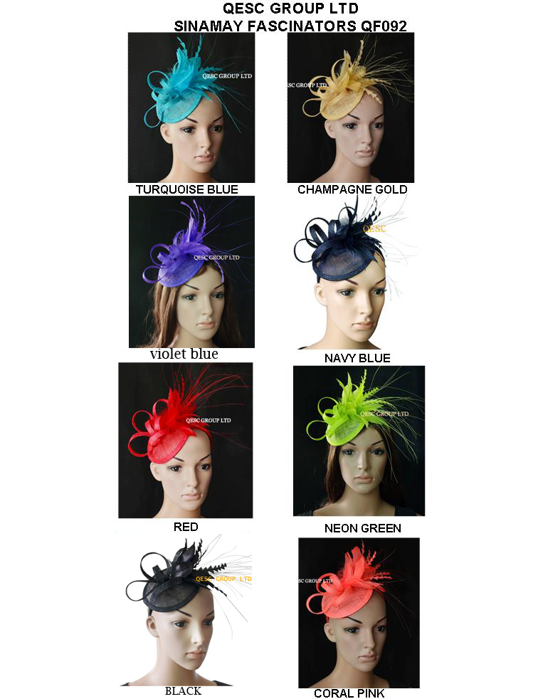 NEW Feather sinamay Hat Fascinator for kentucky derby wedding party FREE SHIPPING