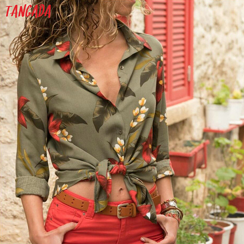 Tangada women blouse shirt floral autumn long lseeve boho chiffon blouse big size stripe casual ladies tops female clothing aon2