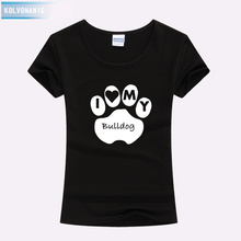 Women Clothes 2019 I Love My Bulldog Letters Footprint Print Tshirts Slim Cotton Hipster Funny T Shirt For Girl Top Tees
