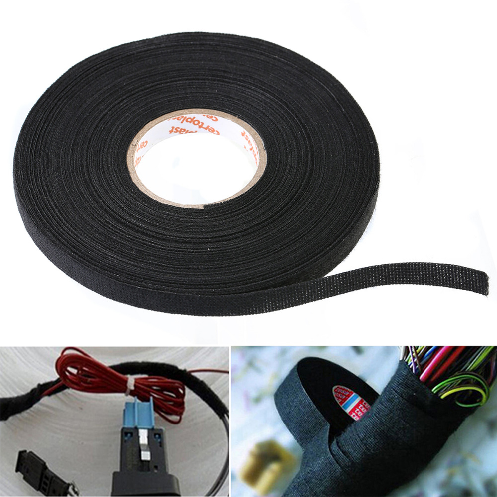 1pc 19mmx15m Tesa Coroplast Adhesive Cloth Tape For Cable Harness Car Wiring Looms Black Fabric 25m X 9mm